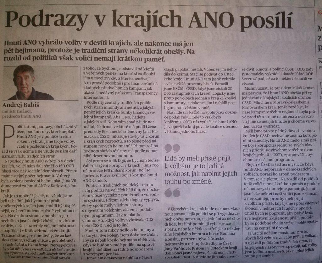 Článek Andreje Babiše v Mf Dnes ze dne 24. 11. 2016 (rubrika Názory).